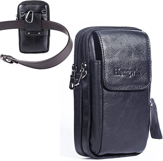 Hengwin Genuine Leather Belt Pouch for iPhone 12 Pro Max 11 Pro Max XS Max Crossbody Case with Belt Clip Loop, Samsung Galaxy A72 A52 A32 S21+ Note 20 Ultra Holster Cell Phone Purse with Strap (Black)