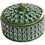 Angelic Brass Jewellery Box (7 cm x 7 cm x 5 cm, Green)
