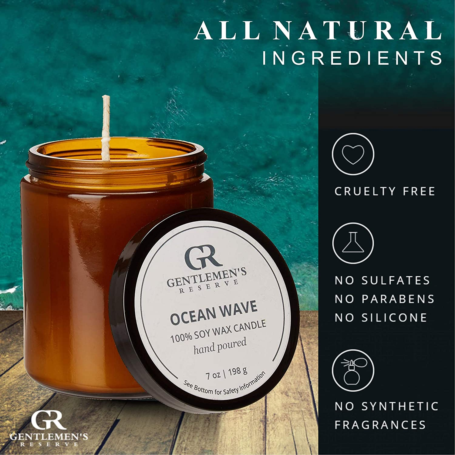 100/% Soy Candle-Manly Scent in Amber Glass Jar GR Ocean Wave Scented Candle for Men by Gentlemens Reserve All Natural