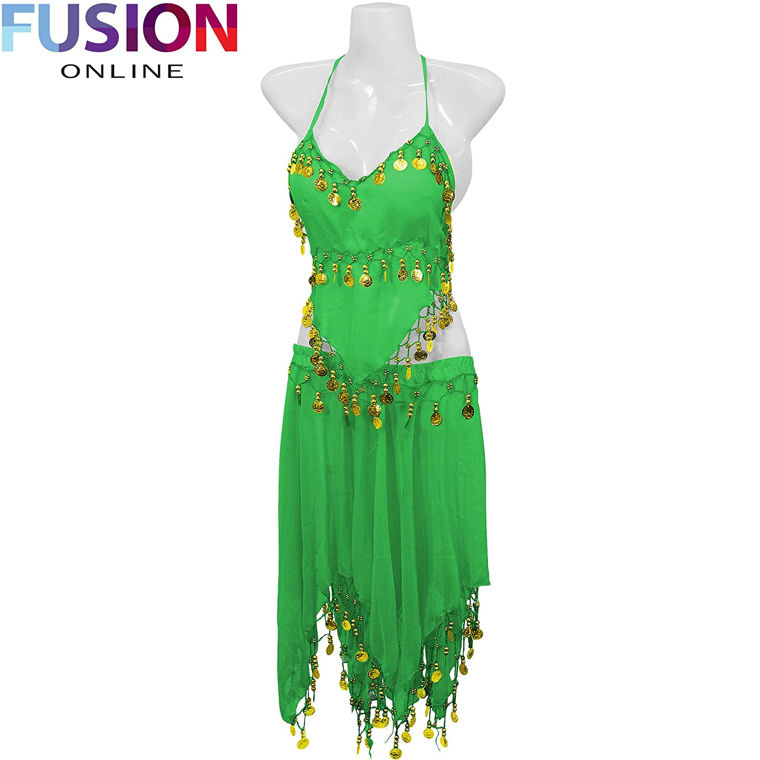 3 ROW BELLY DANCE COSTUME HIP WRAP SCARF SKIRT BELT DANCING PARTY OUTFIT FULL FUSION(TM)