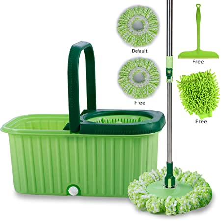Smile Mom Spin Mopper Floor Cleaner with Bucket Set, Wheels for Best 360 Degree Cleaning, 2 Refill Head and Free Microfiber Glove + Free Kitchen Wiper