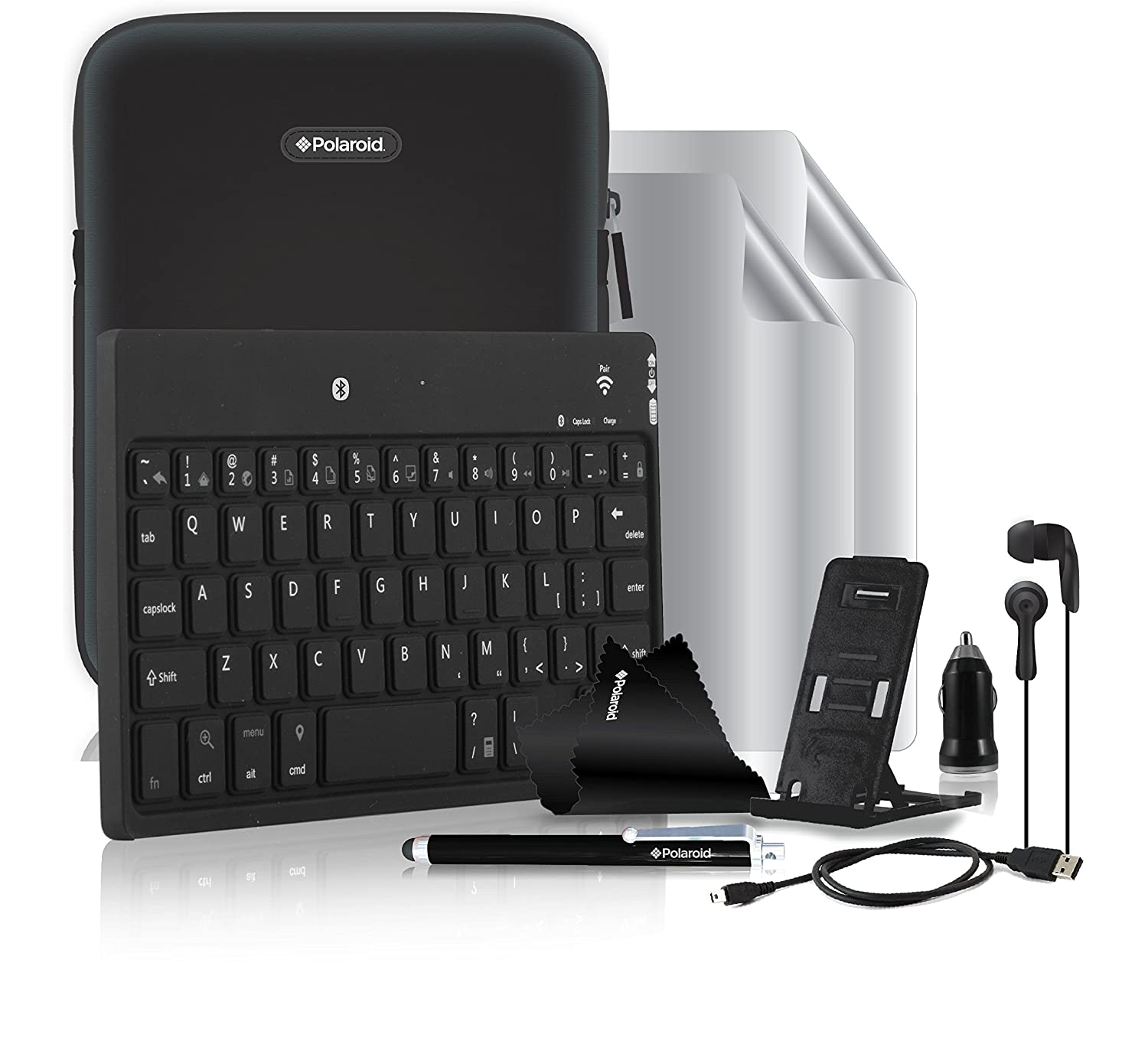99664e08e1a POLAROID 10 Piece Premium Tablet Essentials Universal 7-8 Inch Accessory  Bundle Kit with Bluetooth Keyboard, Sleeve Case and More (PTAK9):  Amazon.co.uk: ...
