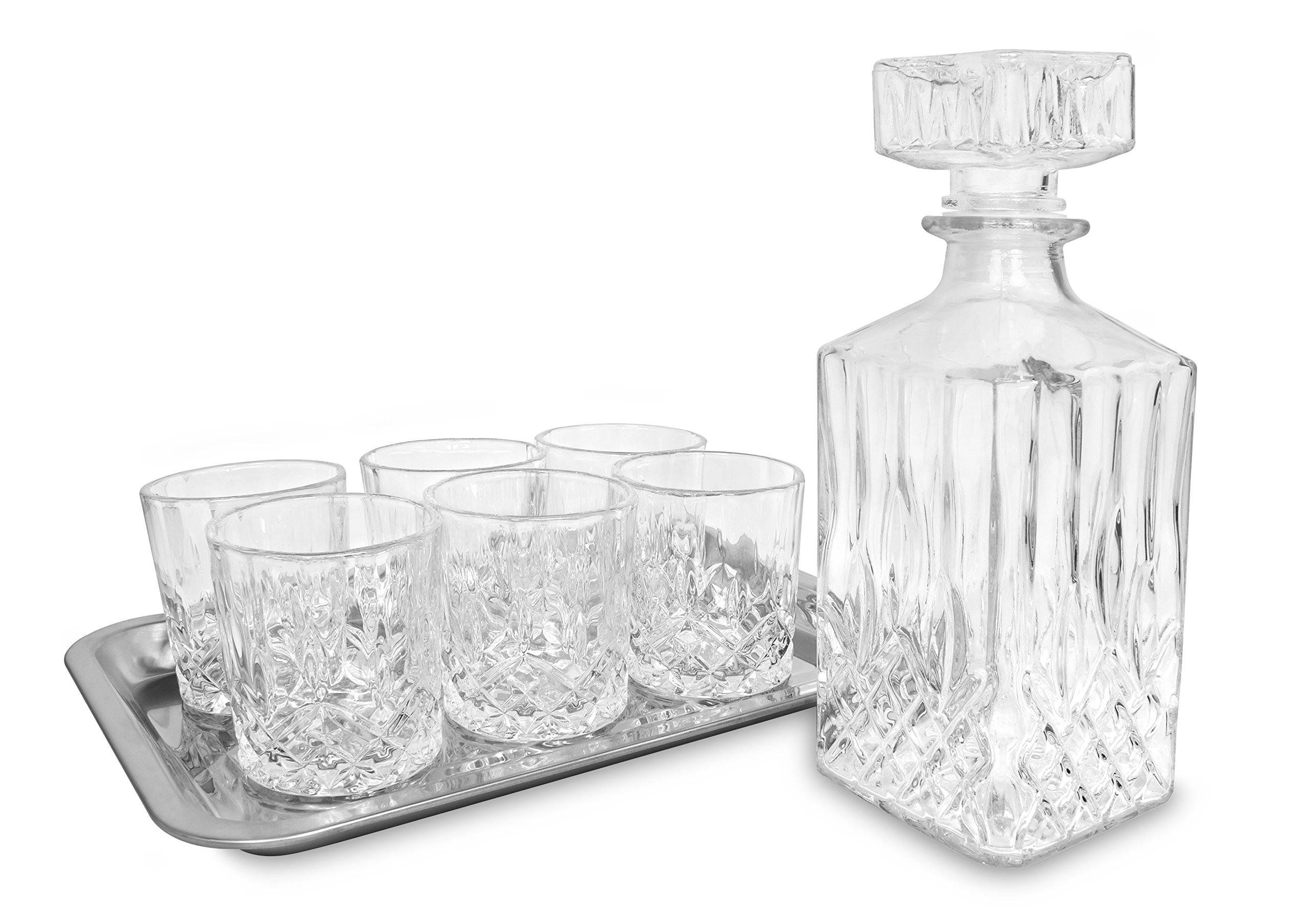 KOVOT 8 Piece Whiskey Bar Set - Includes Decanter, (6) Glasses and Tray