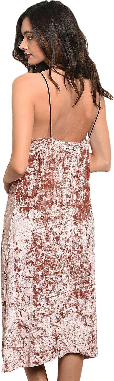 SHOP THE TRENDS Womens Mauve Crushed Velvet Slip Dress