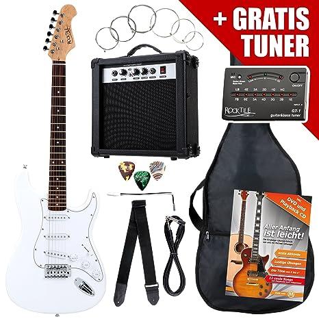 Rocktile ST Pack guitarra eléctr Set blanca incl. ampl, bolsa, afinador, cable