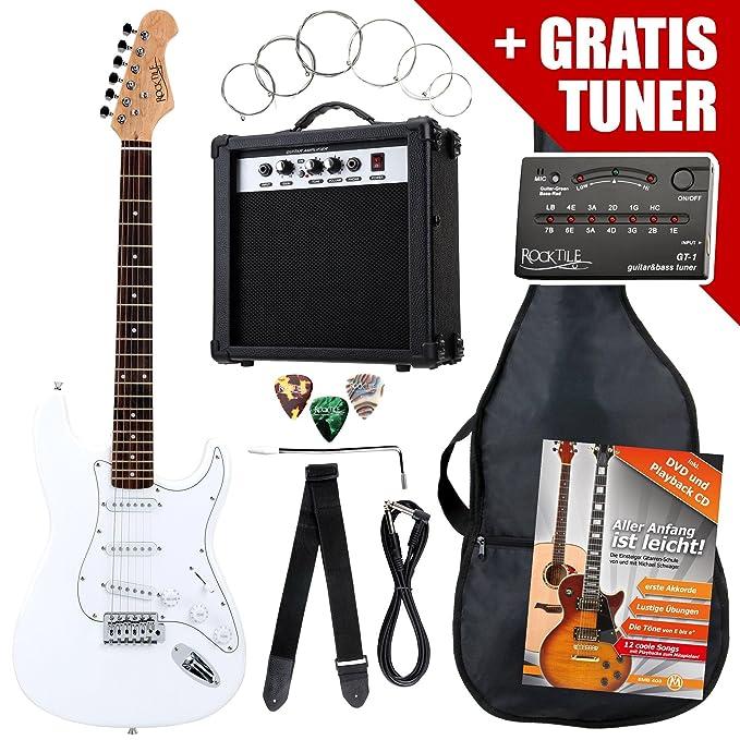 1 opinioni per Rocktile ST Pack SET chitarra elettrica bianca con amplificatore, borsa,