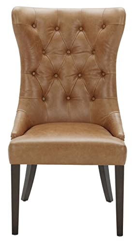 Stone Beam Leather Dining Chair with Deep Tufting, 42 H, Cognac, Queen -