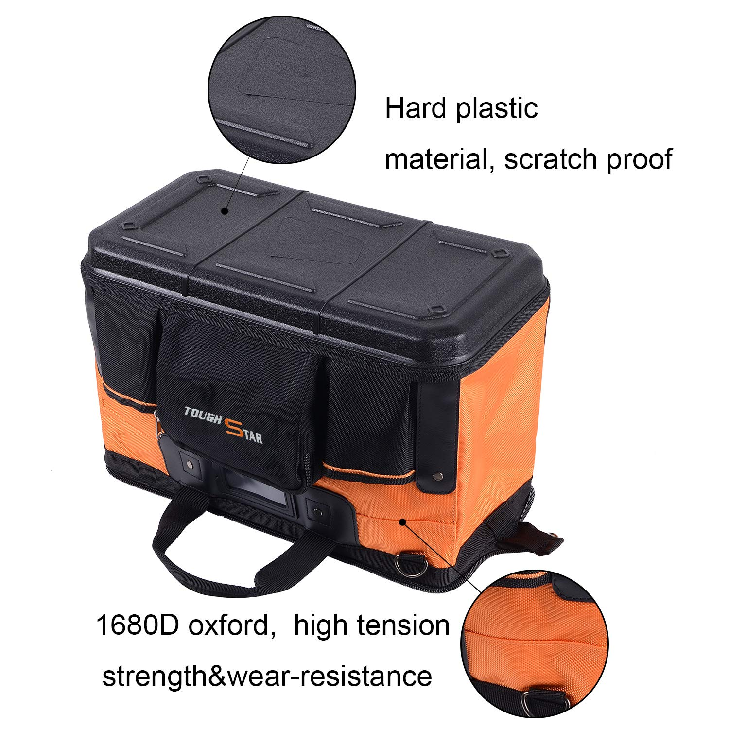 16 Inch 16 Pockets Wide Mouth Single-Shoulder Tool Bag Water Proof Ultra-Rigid Base Tool Storage and Organizer Bag by Sonyabecca (Image #2)
