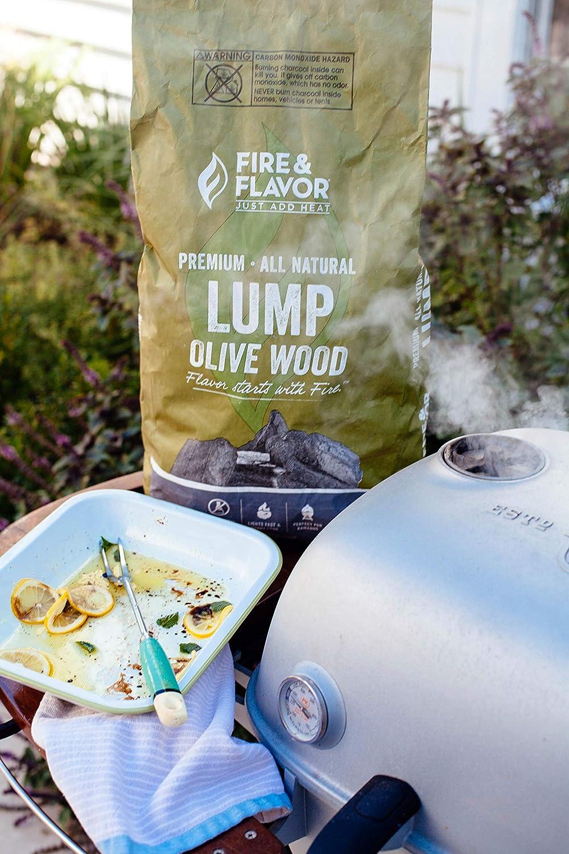 Fire & Flavor - Lote de 2 lúmenes, madera de olivo, carbón ...