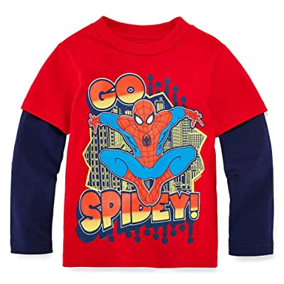Spider-Man Layered Tee - Toddler Boys 2t-5t Size 2T Color Red