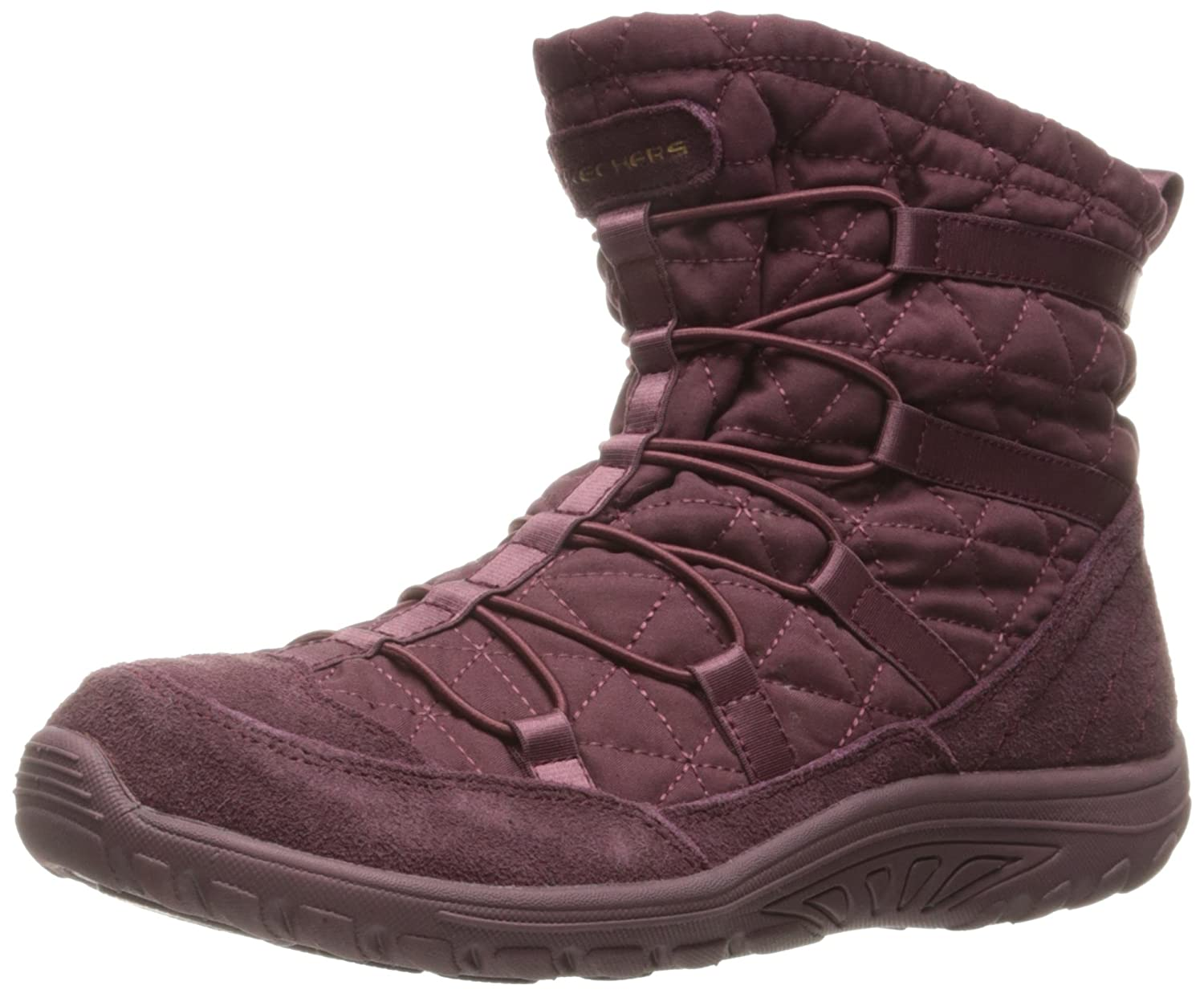 Skechers Womens Reggae Fest Steady Quilted Bungee Ankle Bootie  6 B(M) US Raspberry