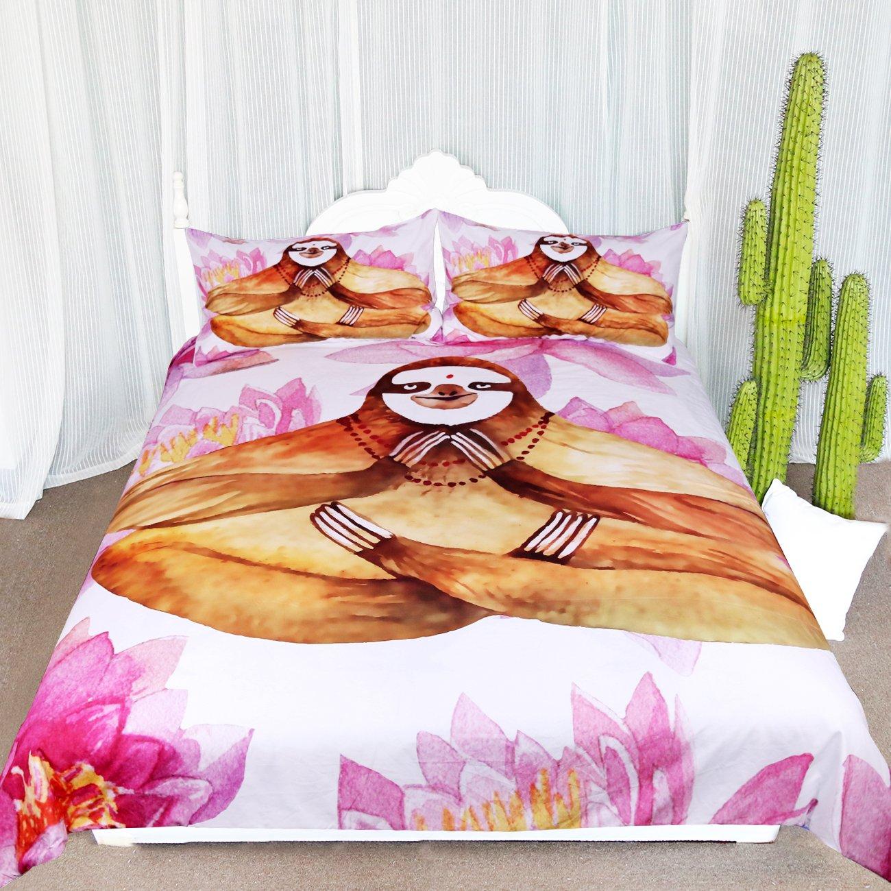 (Queen, Yoga Sloth) - Arightex Watercolour Yoga Sloth Duvet Set 3 Pieces Pink Lotus Brown Sloth Meditation Bedding Girly Duvet Cover (Queen) B076XZ5YG6  クイーン