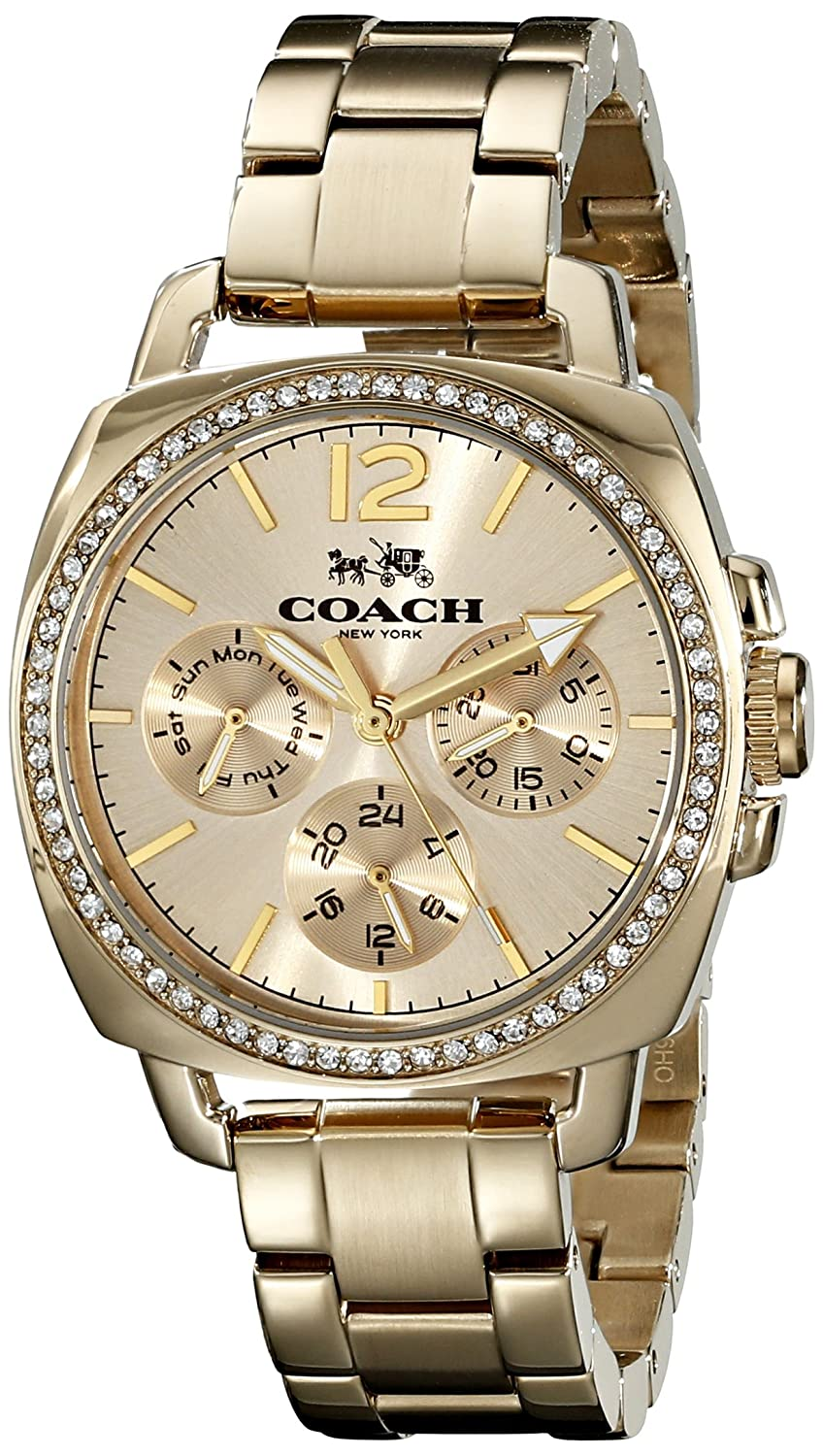 Amazon.com: Coach Womens 14502126 Mini Boyfriend Silver Tone Stainless Glitz Watch: Coach: Watches