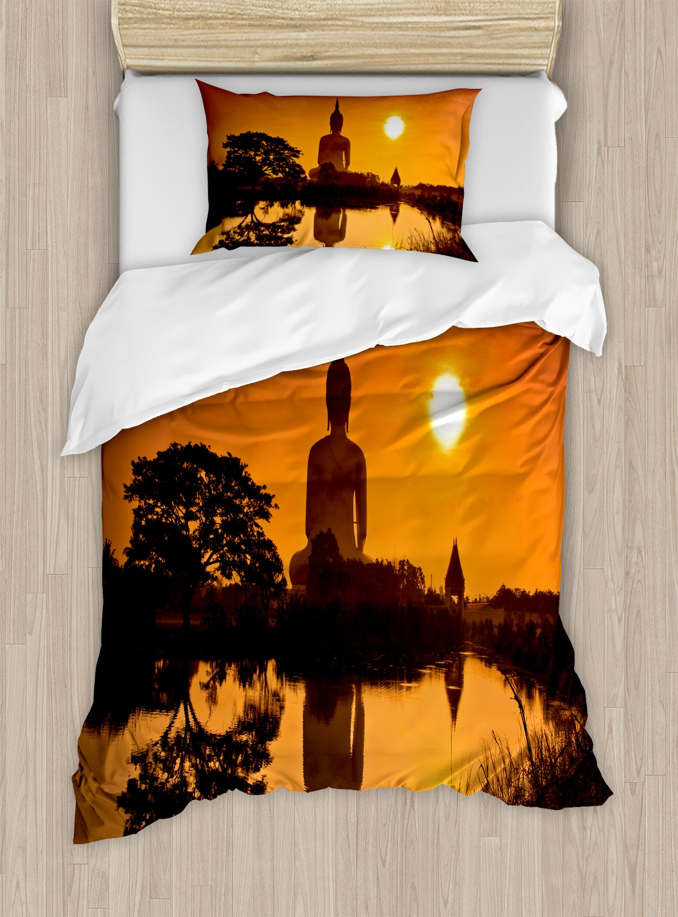 Ambesonne Asian Duvet Cover Set Twin Size, Big Giant Statue by The River at Sunset Thai Asian Culture Scene Yin Yang Print, Decorative 2 Piece Bedding Set with 1 Pillow Sham, Burnt Orange by Ambesonne