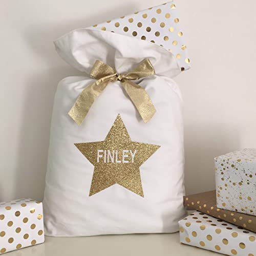 f9c56e94c23c Image Unavailable. Image not available for. Color  Glitter Star Personalised  Christmas Sack