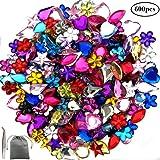 JPSOR 600 Pcs Gems Acrylic Flatback Rhinestones Gemstone Embellishments, 6 Shapes, 6-13mm, with Tweezers and Bag (600 Pcs)