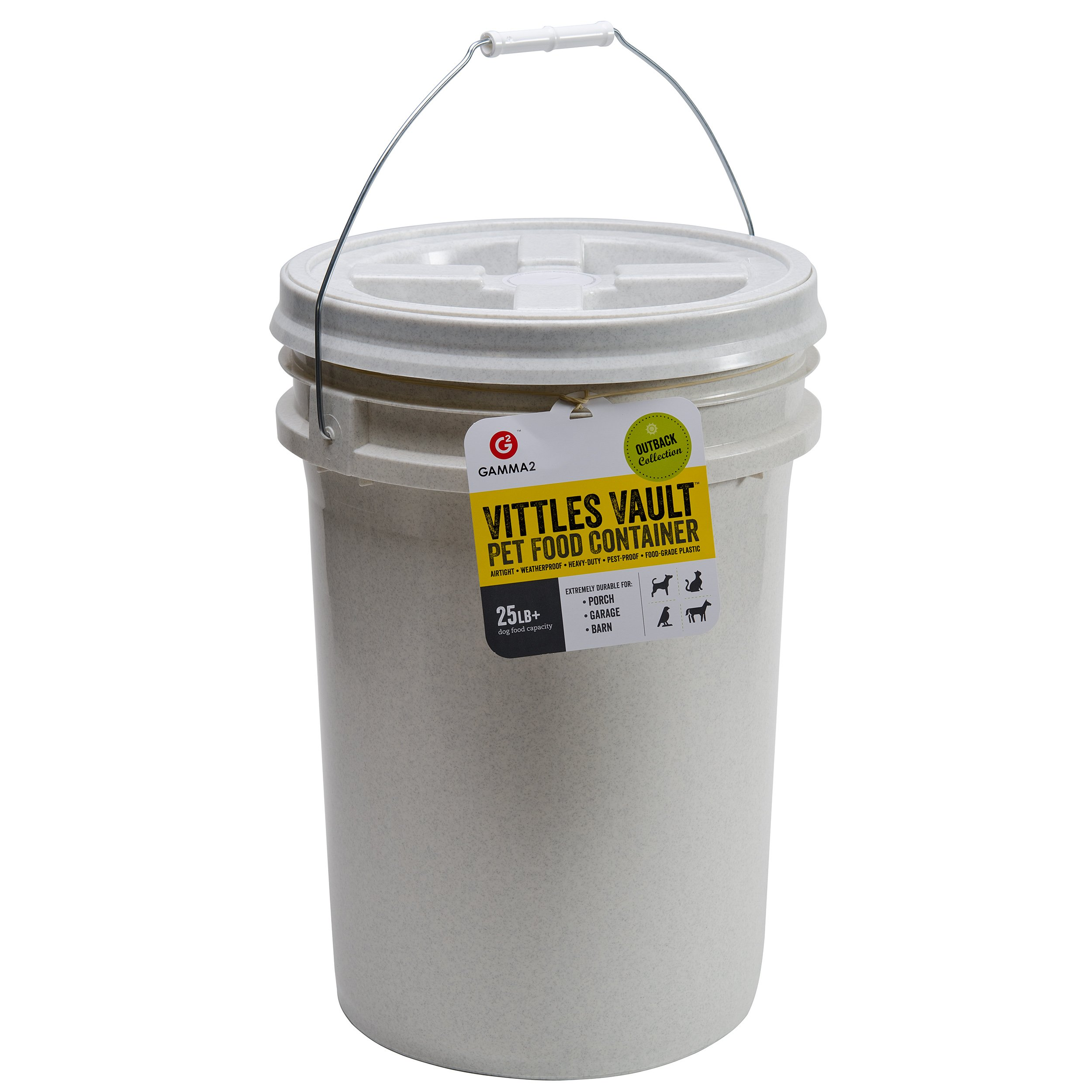 Gamma2 Vittles Vault 25 lb Airtight Bucket Container for Food Storage, Food Grade and BPA Free by Gamma2