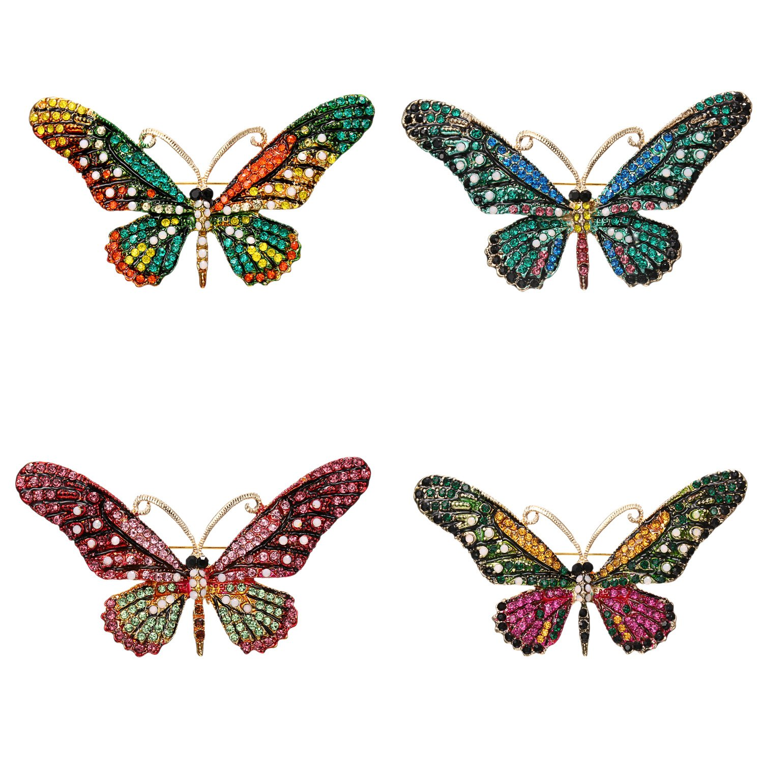 iDMSON Clear Rhinestone Butterfly Brooch Pin - Colorful Crystal Gold Plated Animal Enamel Lapel Pin For Women (4Pcs)