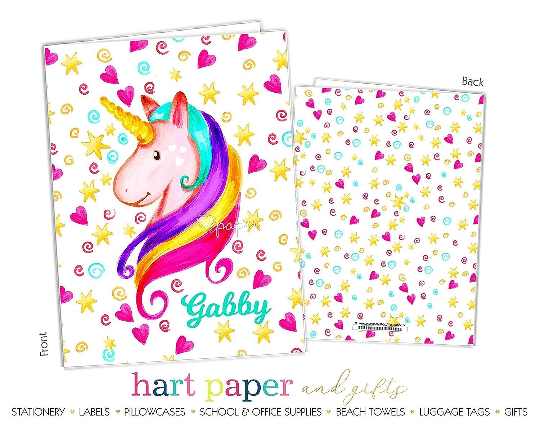 B073ZYM59K Rainbow Unicorn 2 Pocket Folder Gift Name Back to School Supplies Teacher Office Birthday Girl Kids Custom Personalized Custom 81qLos1VLfL