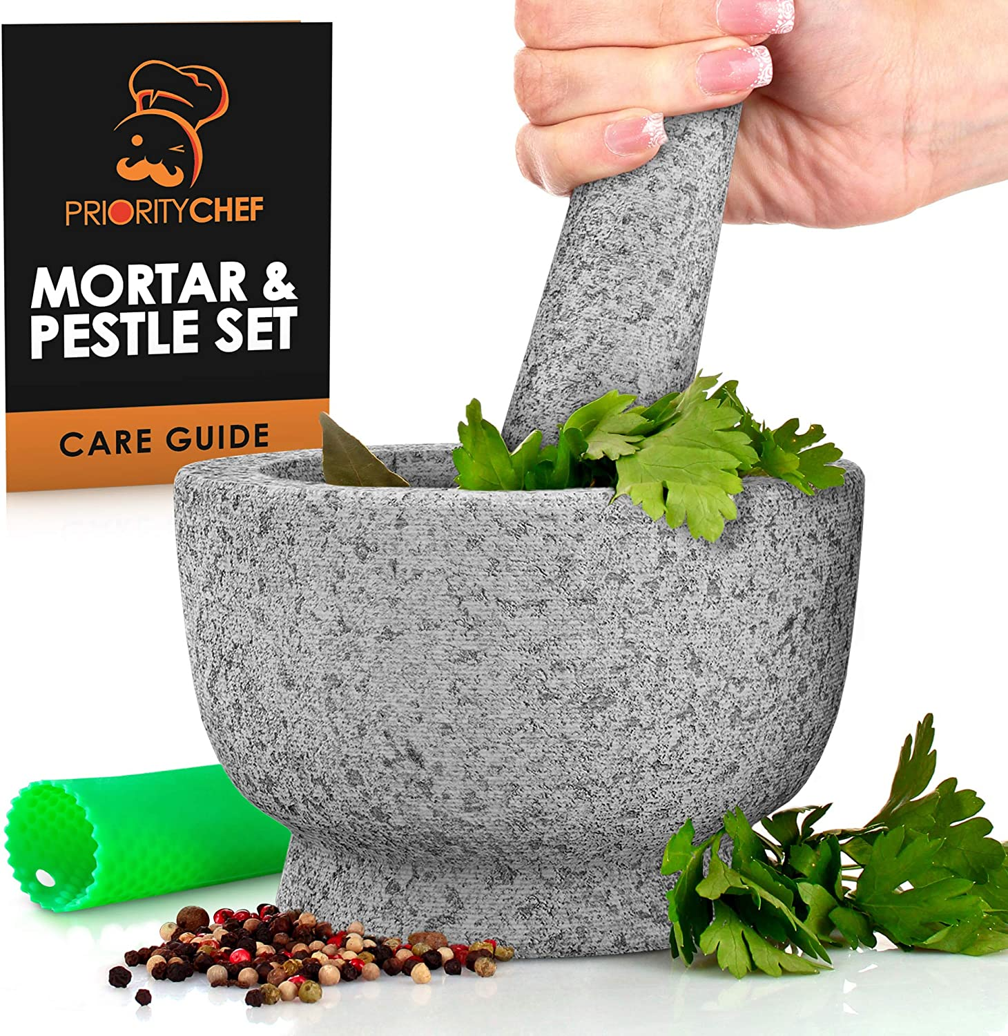 PriorityChef Mortar and Pestle Set - 100% Natural 2 Cup Unpolished Granite - Grind, Crush & Mash Spices and More - Easy to Use & Clean - Solid Stone Mortar and Pestle Large