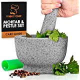 PriorityChef Mortar and Pestle Set - 100% Natural 2 Cup Unpolished Granite - Grind, Crush & Mash Spices and More - Easy to Us