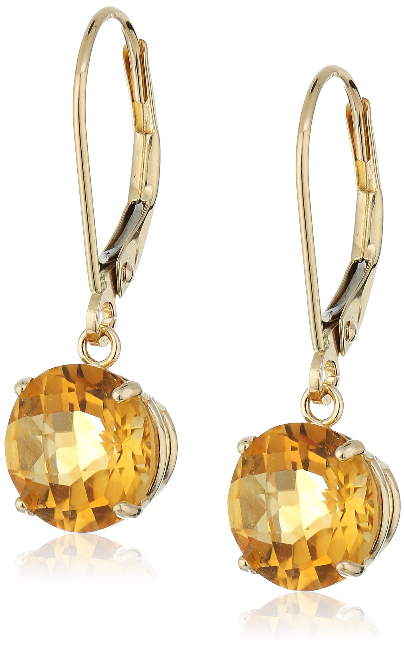 10k Yellow Gold Round Checkerboard Cut Citrine Leverback Earrings (8mm)