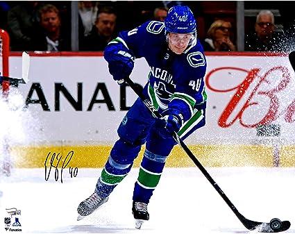 """37267691226 Elias Pettersson Vancouver Canucks Autographed 16"""" x 20"""" NHL  Debut Skating Photograph - Fanatics"""