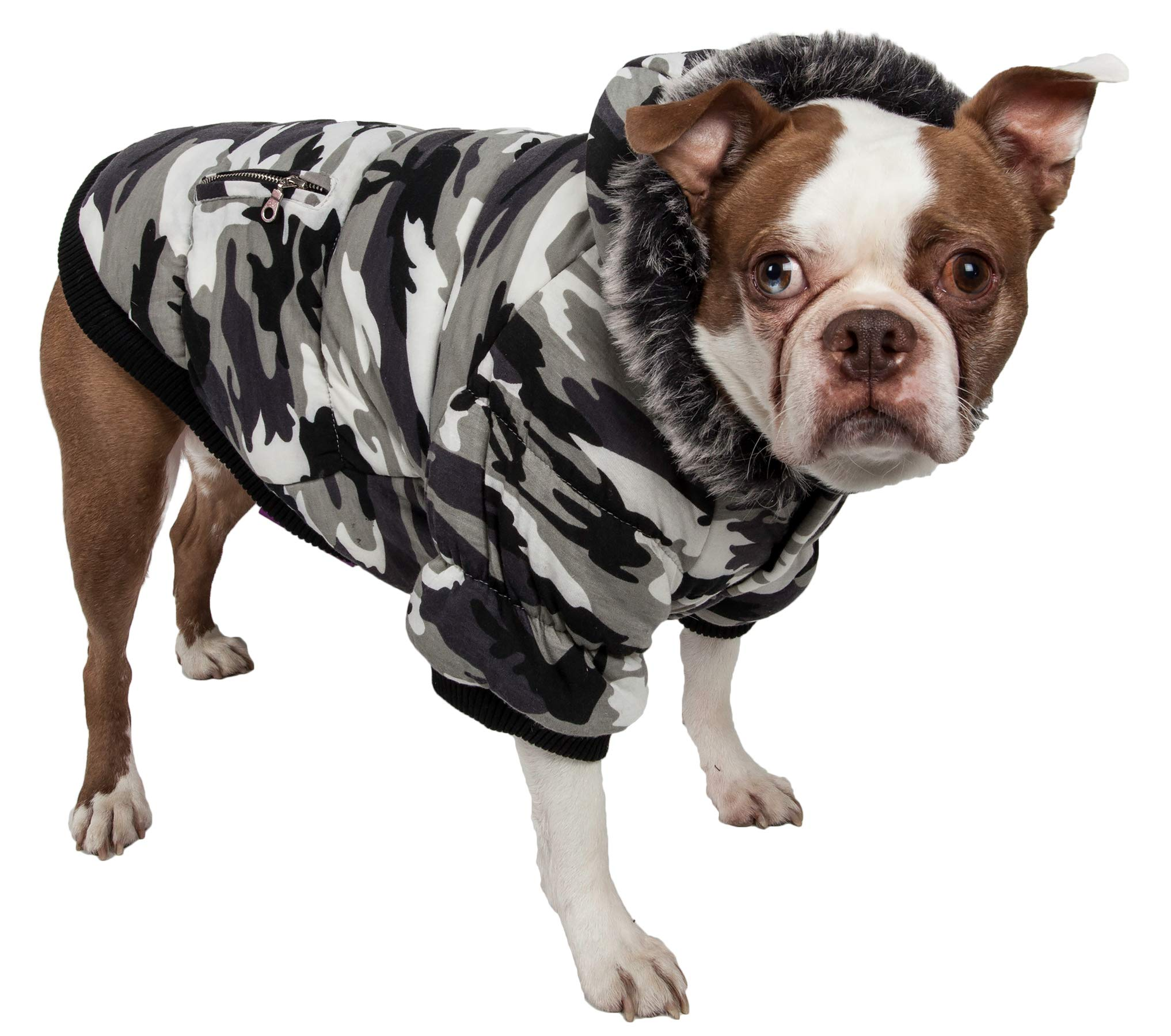 PET LIFE Classic Metallic Fashion Pet Dog Coat Jacket Parka w/ 3M Insulation and Removable Hood, Small, Deer Pattern by Pet Life