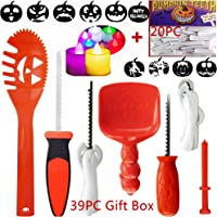 7PC Pumpkin Carving kit 20 Pumpkin teeth 2 LED Pumpkin Lights 10 Carving Stencils, Easy Pumpkin Carving tools set For Kids and Adults 39 PCS