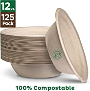 100% Compostable 12 oz. Paper Bowls [125-Pack] Heavy-Duty Quality Natural Disposable Bagasse, Eco-Friendly Biodegradable Made