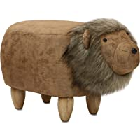 Critter Sitters Brown 14″ Seat Height Animal Lion-Faux Leather Look with Plush Mane-Durable Legs-Furniture for Nursery, Bedroom, Playroom & Living Room-Décor Ottoman