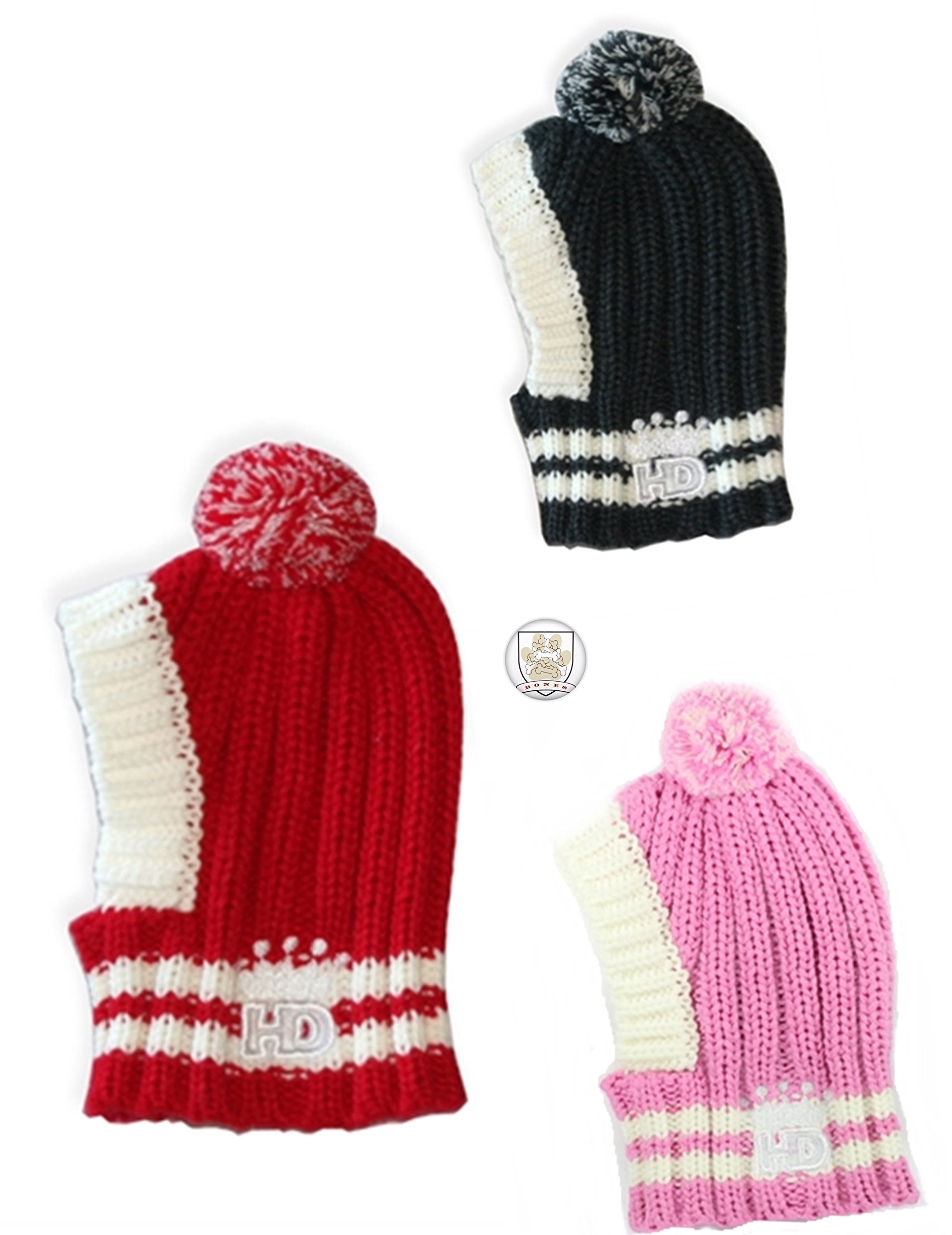 Hip Doggie Thick Ribbed Knit Hat - Pullover Styled - with Pom-Pom and Button - for Dogs 50-110 lbs - Size (Large, Soft Pink)