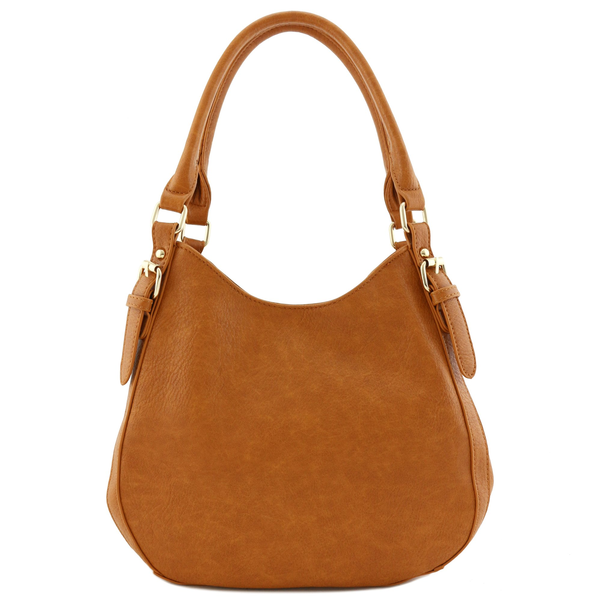Light-weight 3 Compartment Faux Leather Medium Hobo Bag Tan by FashionPuzzle (Image #2)