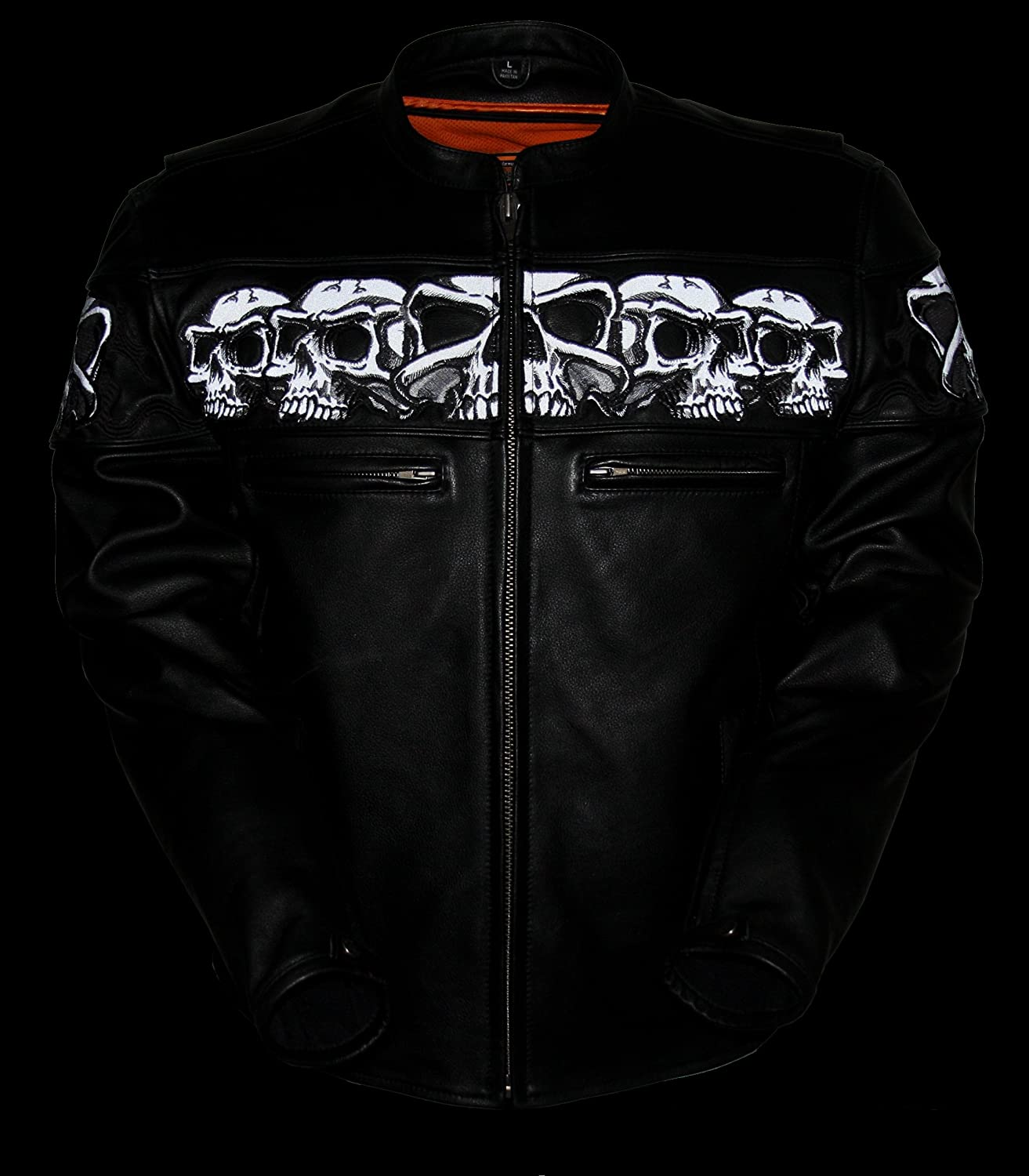 First Manufacturing Black XXX-Large Mens Sporty Scooter Jacket with Reflective Skulls