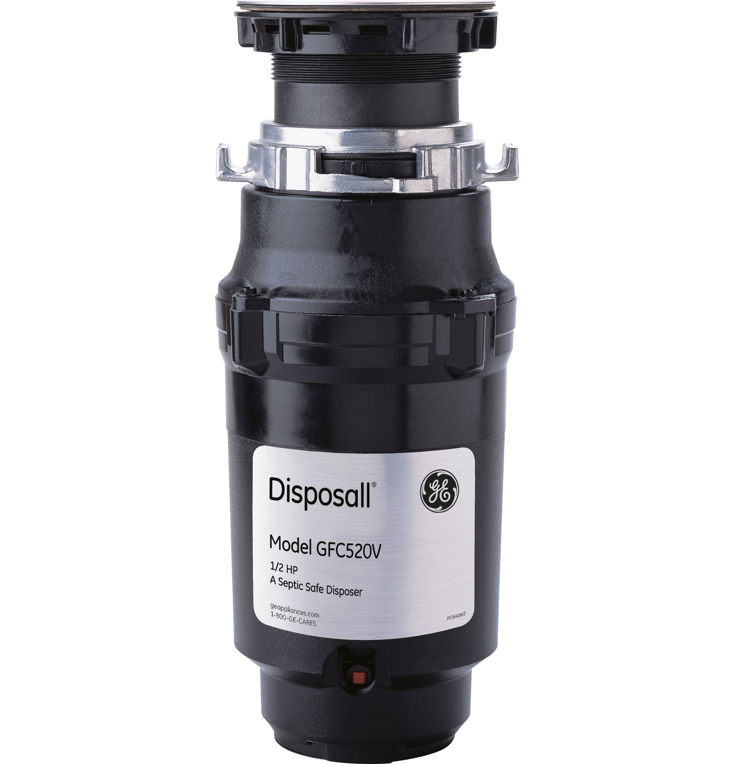 General Electric GFC520V 1/2 Horsepower Continuous Feed Disposall Large Capacity Food Waste Disposer, Black
