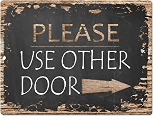 Chic Sign Please Use Other Door Rustic Vintage Chalkboard style Retro Kitchen Bar Pub Coffee Shop Wall Decor 9