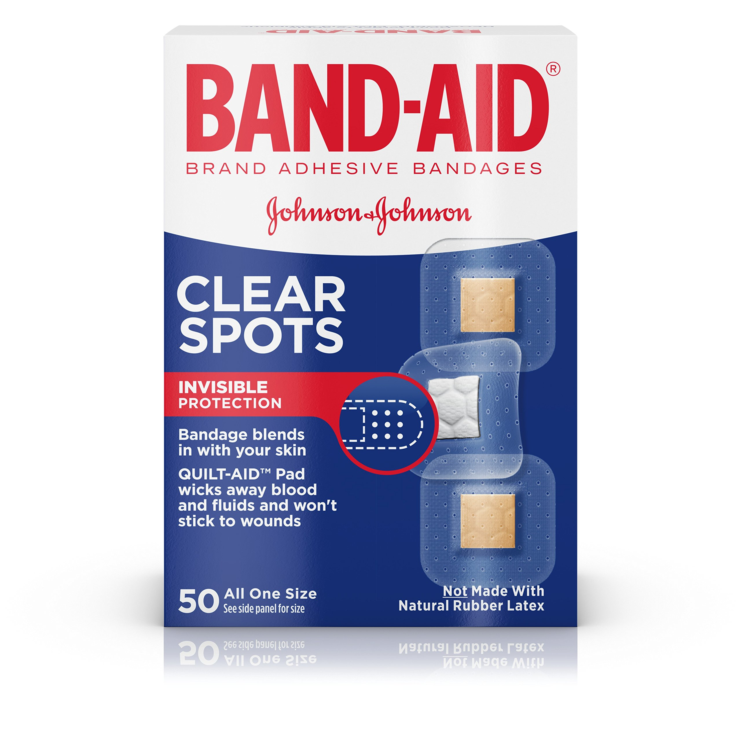 Band-Aid Brand Clear Spots Bandages for Discreet First Aid, All One Size, 50 ct
