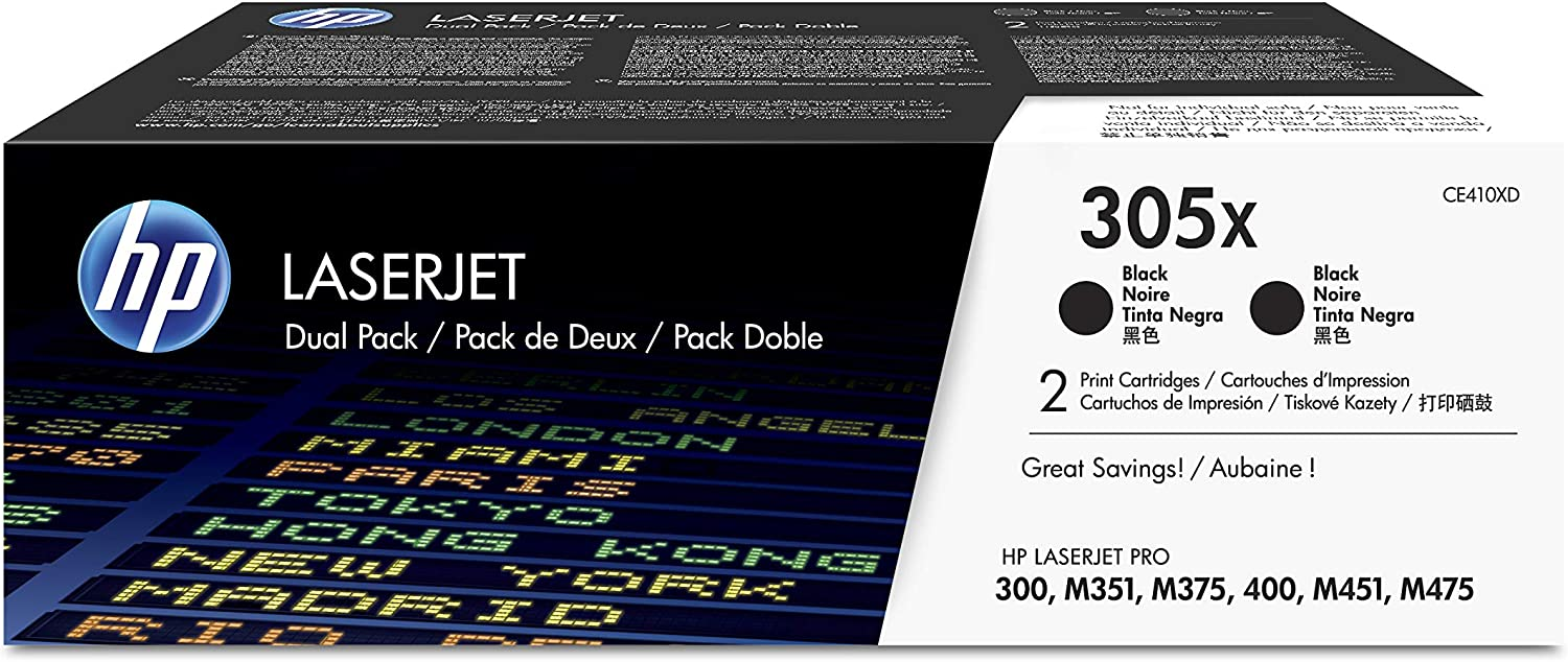 HP 305X | CE410XD | 2 Toner Cartridges | Black | High Yield