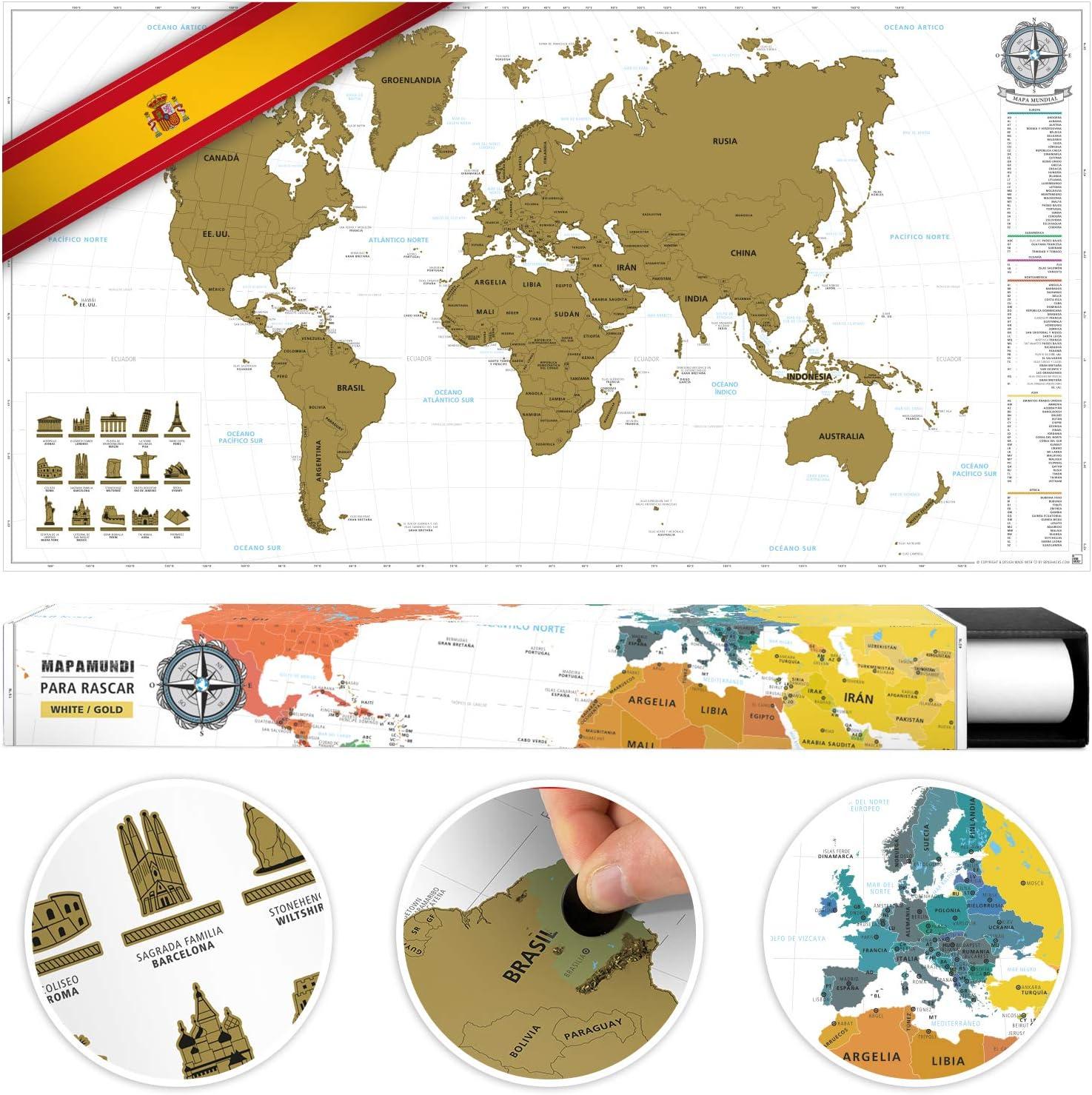 benehacks Mapa del Mundo en ESPAÑOL Tipo póster para rascar SIGA Sus Aventuras de Viaje en un Mapa detallado del Mundo - Mapamundi Oro/Blanco - 84 x 44 cm: Amazon.es: Juguetes y juegos