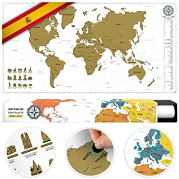 Benehacks Scratch Off World Map Poster In Spanish Track Your