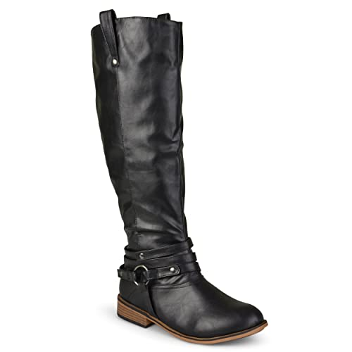 Journee Collection Womens Regular Sized, Wide Calf and Extra Wide Calf Ankle Strap Knee High Riding Boot