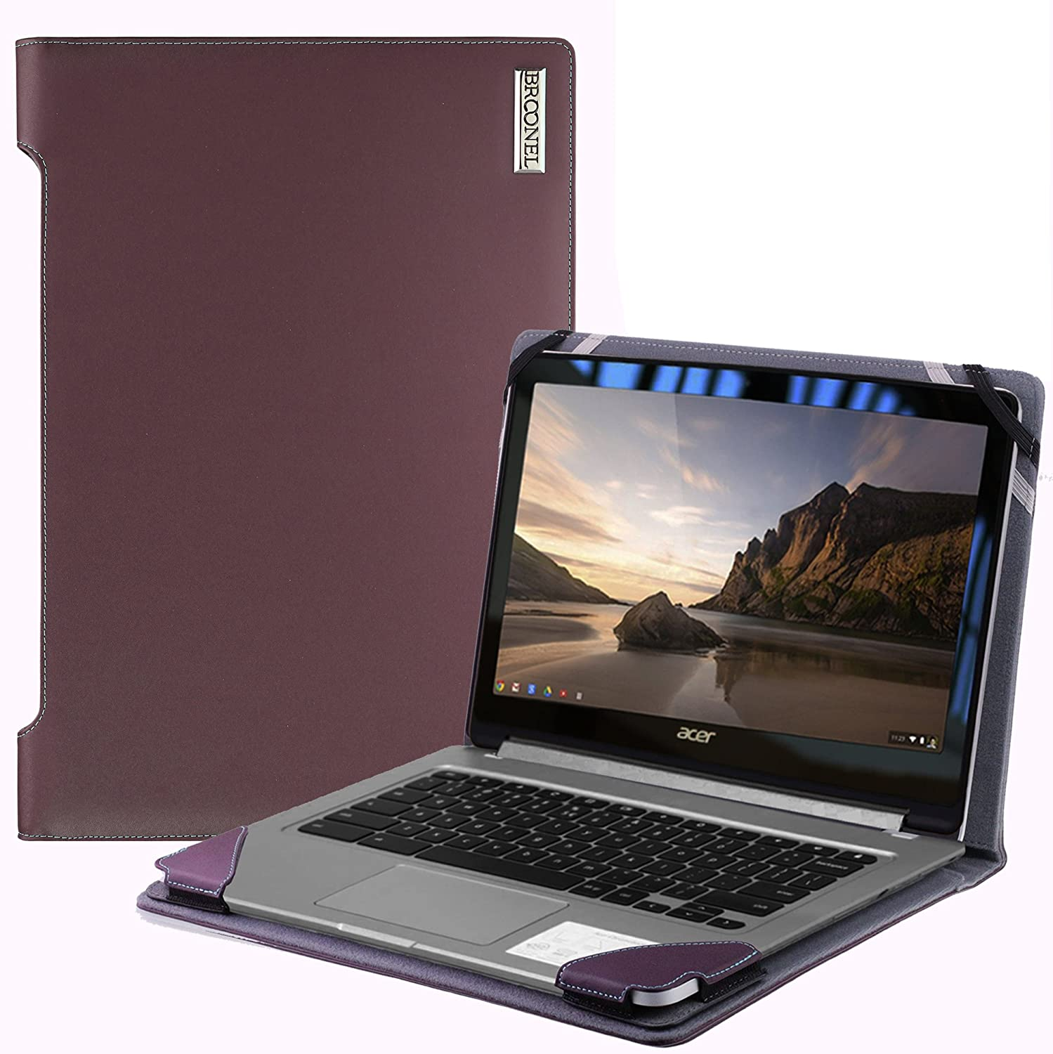 Broonel London - Profile Series - Purple Vegan Leather Laptop Case Cover Sleeve Compatible with The Acer Travelmate x349