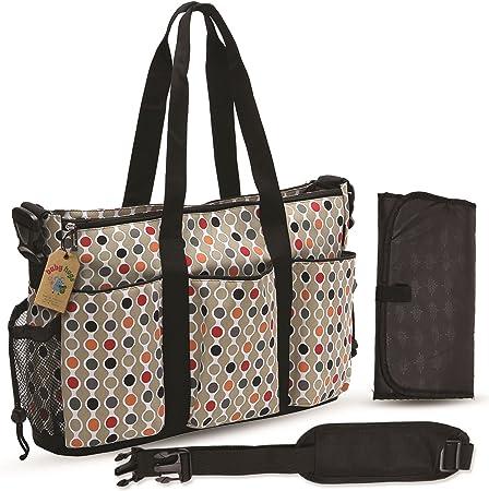 Babyhugs® 3 piezas de tamaño grande con para herramientas de bolso bandolera para portátiles de colores pañal para baño para cambiar el color bolsa de pañales - de topos y círculos de