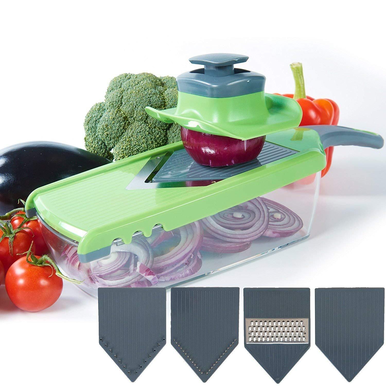 Mandoline Slicer Vegetable Cutter Grater Chopper Julienne Slicer V-Pro 4 Blade Adjustable Kitchen Tool Set Cutter for Tomato, Onion, Cucumber, Zucchini Pasta, Cheese FSTgo