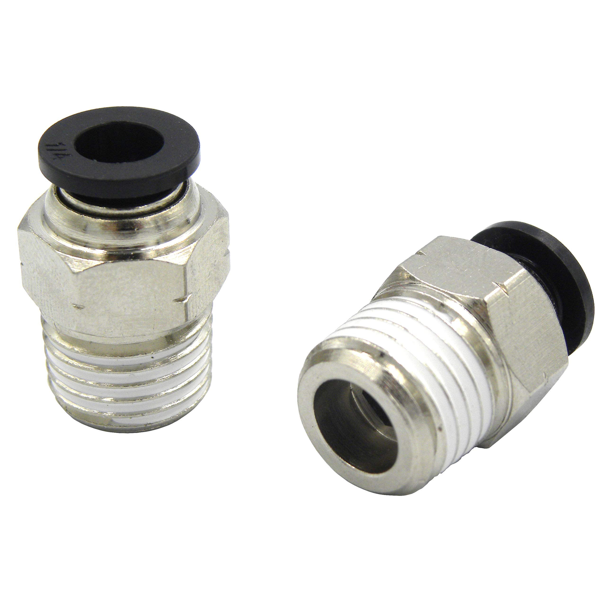 Wanm Pneumatic Round Male Straight - 1/2'' Tube OD x 3/8'' Inch NPT Thread Push to Connect Tube Fittings(10 per Pack)