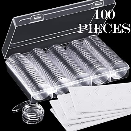 100 Piezas de Cápsulas de Monedas de 30 mm y 5 Tamaños (17/20/25/27/30 mm) Estuche de Protección para Juntas de Monedas con Caja Organizadora de Almacenamiento para Suministros de Colección de Monedas(Blanco):
