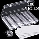 100 Pieces 30 mm Coin Capsules and 5 Sizes (17/20/ 25/27/ 30 mm) Protect Gasket Coin Holder Case with Storage Organizer…