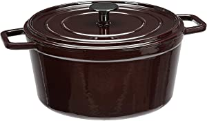 AmazonBasics Premium Enameled Cast Iron Dutch Oven, 5-Quart, Deep Cranberry