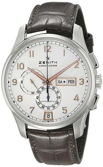 CENIT Capitán Winsor Cronógrafo Blanco Dial Brown Cuero Mens Reloj