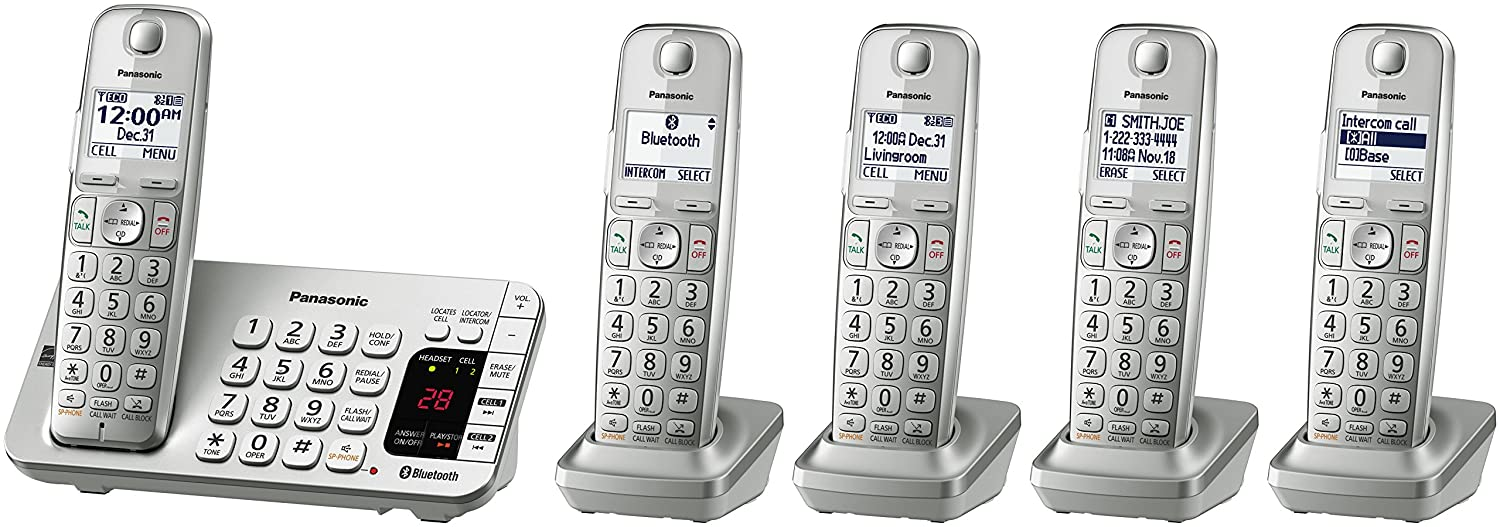 Amazon panasonic kx tge475s link2cell bluetooth cordless amazon panasonic kx tge475s link2cell bluetooth cordless phone with answering machine 5 handsets electronics sciox Images